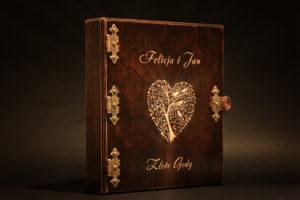 album drewniany złote gody
