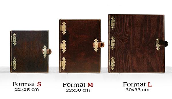 albumy drewniane formaty
